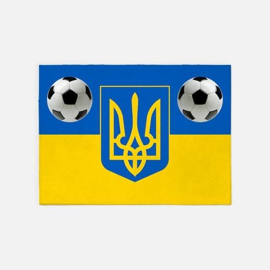 Ukraine Football Flag 5'x7'area Rug