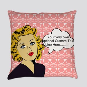 Nerdy Blonde Lady Personalized Everyday Pillow