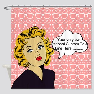Nerdy Blonde Lady Personalized Shower Curtain