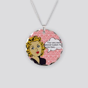 Nerdy Blonde Lady Personaliz Necklace Circle Charm