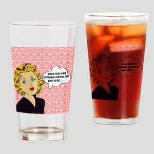 Nerdy Blonde Lady Personalized Drinking Glass
