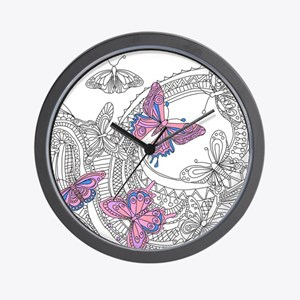 Butterfly Sketch 3 Wall Clock
