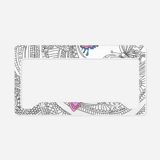 Butterfly Sketch 3 License Plate Holder