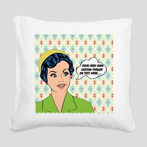 Custom Text Pop Art Woman Square Canvas Pillow