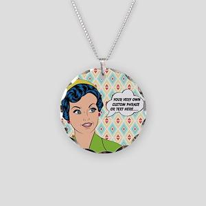 Custom Text Pop Art Woman Necklace Circle Charm