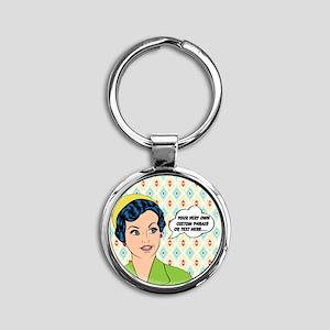 Custom Text Pop Art Woman Round Keychain