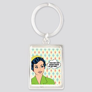 Custom Text Pop Art Woman Portrait Keychain