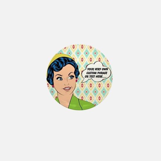 Custom Text Pop Art Woman Mini Button