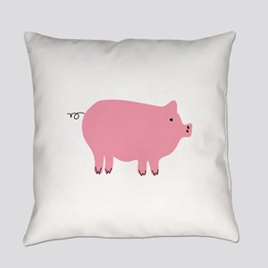 Pink Pig Silhouette Illustration Everyday Pillow