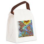Hummingbird Goldfish Kiss Canvas Lunch Bag