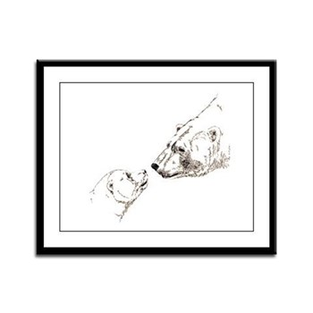 Polar Bear & Cub Framed Panel Print