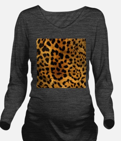 girly trendy leopard Long Sleeve Maternity T-Shirt