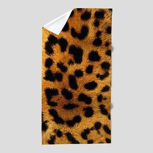 girly trendy leopard print Beach Towel