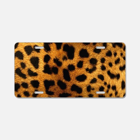 girly trendy leopard print Aluminum License Plate