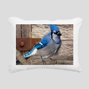 rustic barn wood blue ja Rectangular Canvas Pillow