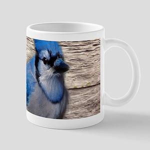 rustic barn wood blue jay Mugs