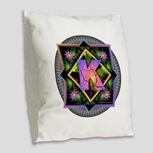 Bold Beautiful K Burlap Throw Pillow