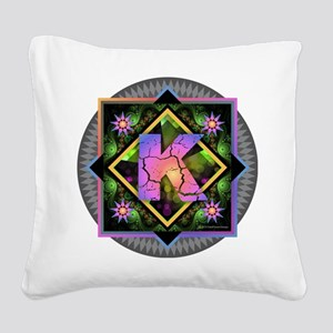 Bold Beautiful K Square Canvas Pillow