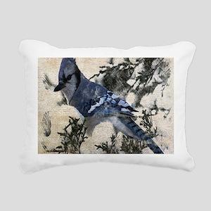 christmas snow blue jay Rectangular Canvas Pillow