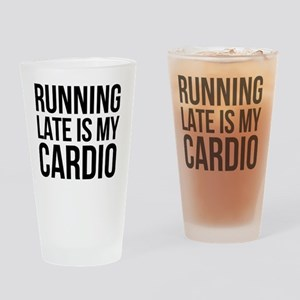 rUNNING LATE - BLACK Drinking Glass