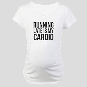 rUNNING LATE - BLACK Maternity T-Shirt
