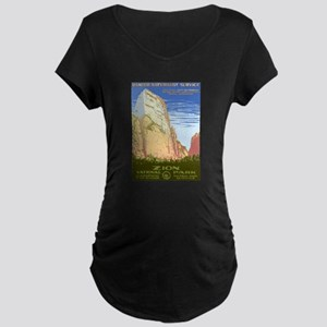 1930s Vintage Zion National Park Maternity Dark T-