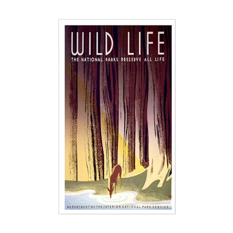 1930s Vintage Wildlife WPA Poster Sticker (Rectang