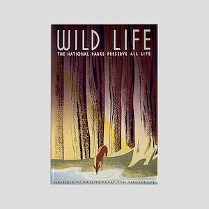 1930s Vintage Wildlife WPA Poster Rectangle Magnet