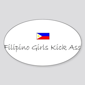 Filipino Girls Kick Ass Oval Sticker