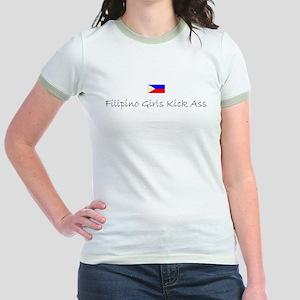 Filipino Girls Kick Ass Jr. Ringer T-shirt