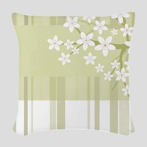 Sakura Japanese Cherry Tree Fl Woven Throw Pillow