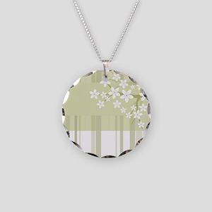 Sakura Japanese Cherry Tree Necklace Circle Charm