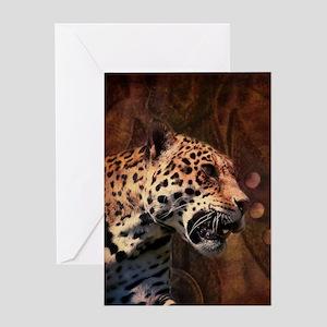 rustic wild safari leopard Greeting Cards