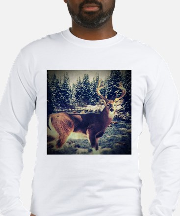 forest camo white tail deer Long Sleeve T-Shirt