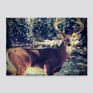 forest camo white tail deer 5'x7'Area Rug