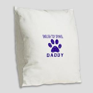 English Toy Spaniel Daddy Desi Burlap Throw Pillow