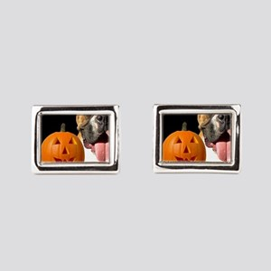 halloween boxer greeting car Rectangular Cufflinks