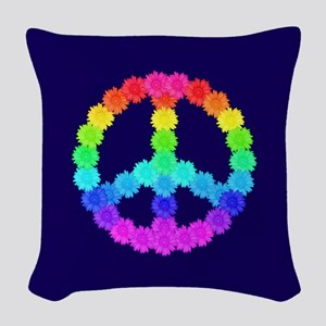 Rainbow Flower Peace Sign Woven Throw Pillow