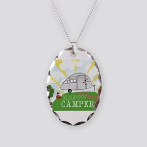 Happy Camper Necklace Oval Charm