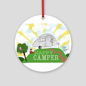 Happy Camper Round Ornament