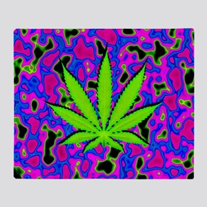 Psychedelic Pot Leaf Throw Blanket