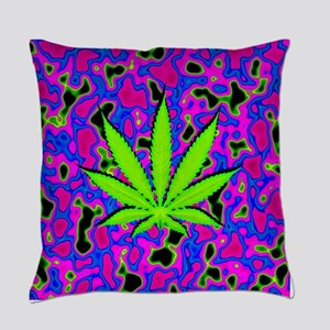 Psychedelic Pot Leaf Everyday Pillow