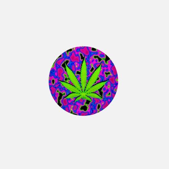 Psychedelic Pot Leaf Mini Button