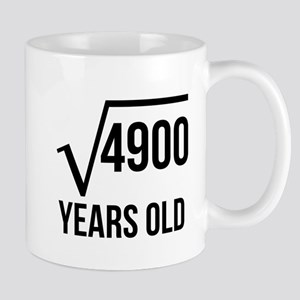 70 Years Old Square Root Mugs