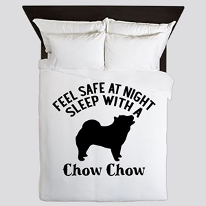 Sleep With Chow Chow Dog Designs Queen Duvet