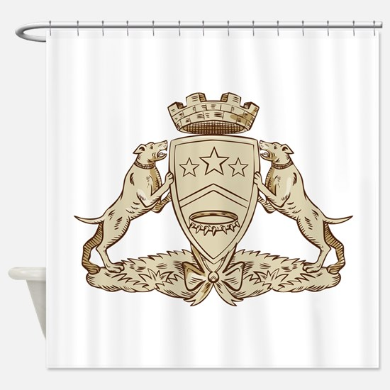 Pitbull Dog Coat of Arms Etching Shower Curtain