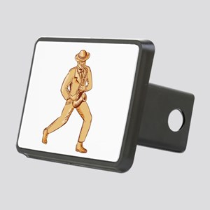 Jazz Player Playing Saxophone Etching Hitch Cover