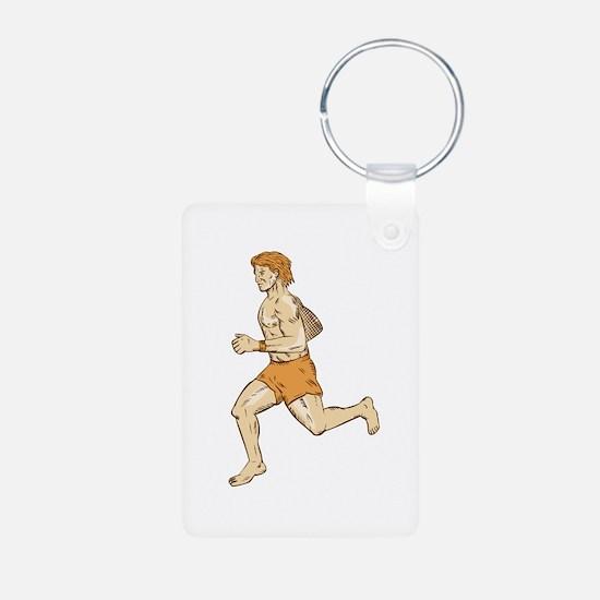 Barefoot Runner Running Side Etching Keychains