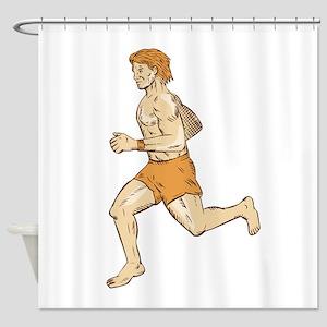 Barefoot Runner Running Side Etching Shower Curtai