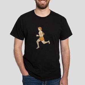 Barefoot Runner Running Side Etching T-Shirt